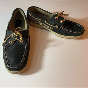 Sperry Topsider Navy & Leopard leather Boat shoes